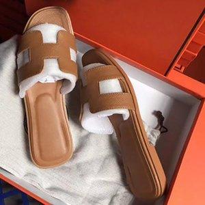 Hermes women's shoes 2020 nuovi pistoni di sandali flat di scarpe di cuoio reale Slides migliori qualità dei sandali dei pistoni Huaraches fannulloni Scuffs per la donna Eu: 3