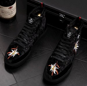 Calzado casual de marca para hombre Terciopelo de lujo Bordado Tapas altas Zapato de plataforma Rock joven Hip Hop Board Zapatos Mocasines punk Botines gb77