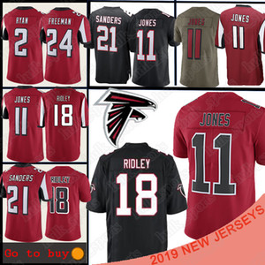 Atlanta Jersey Falcon 11 Julio Jones 18 Ridley 21 Deion Sanders 2 Matt Ryan 24 Devonta Freeman men football jersey футболка