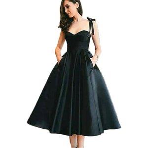 스트랩인 공단 졸업복 차 길이의 검은 공식적인 드레스 포켓을 가진 섹시한 드레스는 신부 들러리 드레스 데 갈라 2020