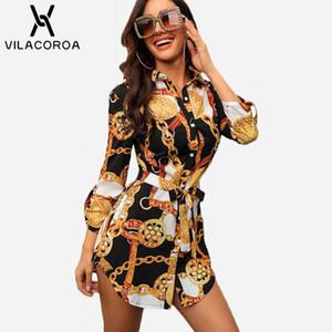 Seksi Orta Kollu Zincir Baskı Kadın Bluzlar Ve Tops Yaka Dantel-up Düğme Kadın Bluzlar Casual En Blusas Chemise Femme Vestido J190613