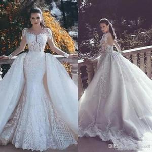 2019 새로운 백리스 인어 레이스 웨딩 드레스 탈착식 기차와 웨딩 드레스 환상 슬리브 페르시 슬리브 신부 가운