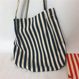 Stiped Canvas Tote Reusable Cotton Women Storage Shopping Bag Fabric Cotton Cloth Beach String Handbags
