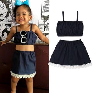 2019 Mais novo estilo Primavera Verão Vestuário Meninas Roupas Set Strap Tops + saia 2PCS crianças Moda Outfits Set 1-6Years