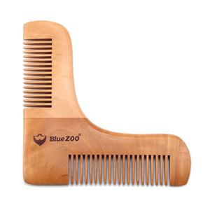 Pearwood مشط للشعر اللحية المزدوج الجانب اللحية تشكيل التصميم الرجال أدوات الحلاقة الشعر اللحية تريم قالب أمشاط