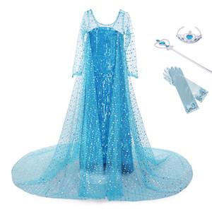 YOFEEL 소녀 공주 블루 신데렐라 스팽글 디럭스 코스프레 의상 화려한 파티 드레스 역할 놀이 카니발 어린이 의류