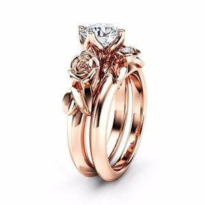 CHAMSS розового золото Цветы Алмазные Двухсекционное кольцо Элегантного Темперамент Женская Обручальное кольцо оптовая продажа фабрика