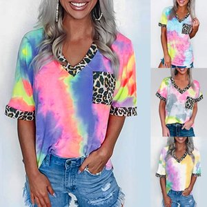 Tie Dye Leopard Tshirt Women Summer Patchwork V Neck Short Sleeve Tops T Shirts Women Short Sleeve T Shirt Women