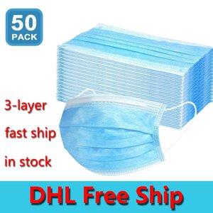 Envío libre de DHL 50pcs desechables Máscaras Protección y Salud Personal Máscara facial de 3 capas cubierta con máscaras Earloop Boca Cara Sanitarias