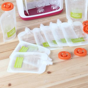 Reusable Squeeze Pouch Storage DIY Baby Pouch Plastic Smoothie Squeeze Bags Refillable Fresh Storage Bag With Lid