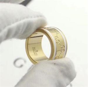 Top-Qualität 316L Edelstahl G Fashion Styles 4 Farben Stamp-Ring für Frauen und Männer vergoldet Schmuck GUCCI Wedding6314