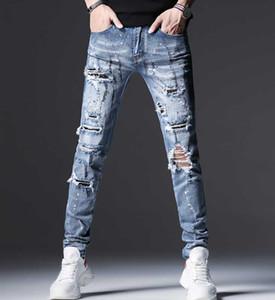 Мужские джинсы High Street Fashion Синий Slim Fit Разрушенные Разорванные Мужчины Сломанные Брюки Краска Стразы Алмазные Hip Hop Jeans