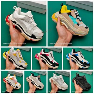 xshfbcl New paris Triple S Men's Women's Casual Daddy Shoes Triple Black White Grey Retro Running Shoes Designer Sneakers