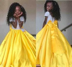 Cute Girl's Pageant Dresses Special Occasion Prom Evening Party For Teens Kids Big Bow Sash Back Long Flower Girl Dress