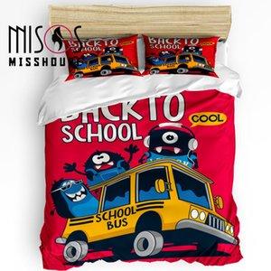 MISSHOUS Yatak Takımları Okula Geri Karikatür Duvar Kağıdı Ev Tekstili 3 adet Nevresim Set Yorgan Kapağı Yastık Kılıfı