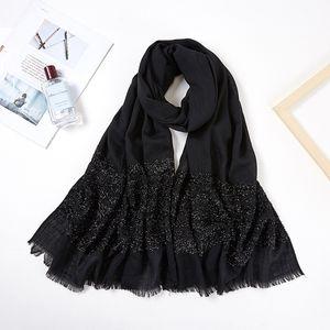 2019 femmes Long Glitter Shimmer Muslim Viscose Head Wrap Hijab Scarf Femme Blanc Noir Solide Couleur Tassel Fringe Châles Foulards