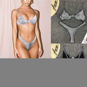 Beachwear Bra 2019 Swimwear Summer Swimwear Silver Push-up Sexy Donne Bikini Briefs Shining Soft Triangle Kbshx