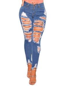 Wipalo Moda Kadın Destroyed Ripped Sıkıntılı İnce Denim Jeans Sevgilisi Jeans Seksi Delik Kalem Pantolon Yeni 3XL