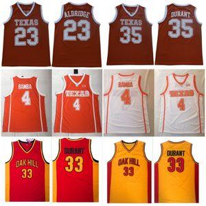 Mens Texas Longhorns Mohamed Bamba 4 Lamarcus Aldridge Kevin 23 Durant 35 Casa Laranja Do Vintage Camisas De Basquete Universitário