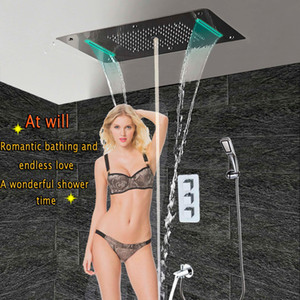 목욕 샤워 꼭지 숨어서 온도 조절 패널 벽 황동 르네 탭 믹서 LED 천장 샤워 헤드 비 폭포 미스트 탑재