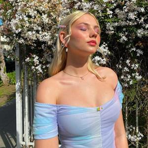 Slash Neck Robes Casual manches courtes couleur multi robes femmes Vêtements pour femmes Designer Laces Robes plissés mode