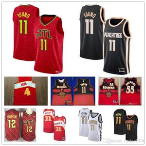 Cheap Men's Atlanta jersey Hawks Trae 11 Young 12 De'Andre DeAndre Hunter Dominique 21 Wilkins 55 Mutombo basketball jerseys