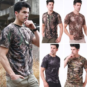 New Men Army Tactical Combat T-Shirts Breathable Quick Dry Sport Tops Outdoor Camping Camouflages Camo Hunting Tees