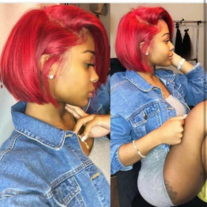 Short Bob Red Straight Lace Front Human Hair Wig Preplucked Hairline Peruvian Remy burgundy wig With Baby Hair