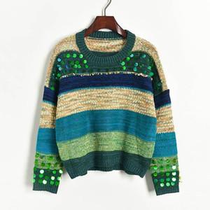N14 2019 Осень Зима Multicolor Colorblock Вязаных Лоскутных Блестки Пуловеры свитер с длинным рукавом Экипаж шеи Мода Свитер X1910PZ91064