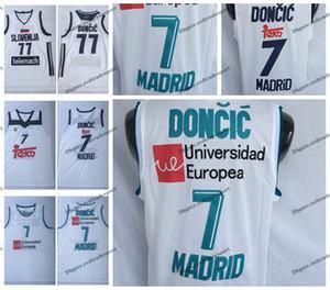 Mens Luka Doncic Unicersidad Europea # 7 Camiseta de baloncesto de Madrid Barato # 77 Slovenija Luka Doncic Camisas cosidas en blanco