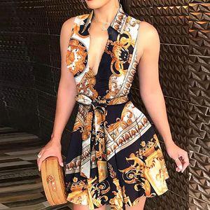 Элегантная цепная буква печати рубашка платье лето женщин V-образным вырезом повязки платье с коротким рукавом мини-вечеринка платья Vestidos