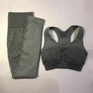 Kadın yoga giysileri takım elbise spor giyim tonları kadın moda pantolon çizgili tozluk dikişsiz spor sutyeni + eğitim tatbikatı
