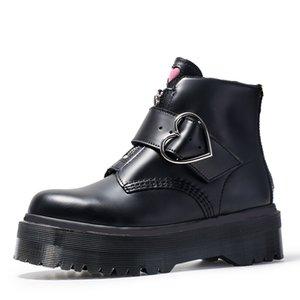 New platform martin boots women genuine leather fashion black zipper buckle comfortable short ankle booties big size 35-41