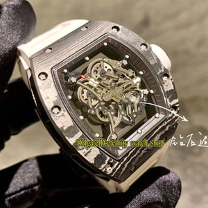 NT 위쪽 버전 RM 055 NTPT 모든 탄소 섬유 케이스 해골 일본 NH 자동 RM055 남성 시계 사파이어 고무 스포츠 디자이너 시계 다이얼