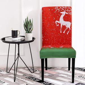 BMBY-Noël Dining Chair Chambre Couvre Slipcovers, Fit Tissu stretch doux amovible lavable confortable de Noël Cuisine Chai