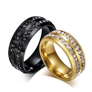 Новый дизайнер 8 мм черный двухрядный Кристалл обручальные кольца для женщин мужчин нержавеющая сталь Bling кольца любовник обещание полосы