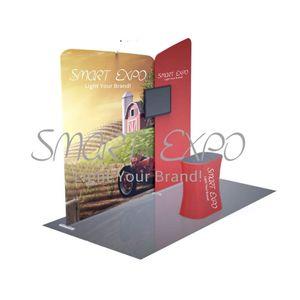 3 * 3 Portable billige OEM Design-Faltkarten Stand Stehen Messe-Display Stand Stand mit Aluminiumrohr Struktur Selber bedrucken Graphics