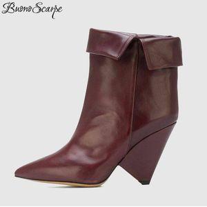 Buono Scarpe скольжению На Остроконечного Toe Шипастых Высокого каблук ботильоны Мода Дизайн Fold Короткого Botas Mujer Pure Color Women Boots
