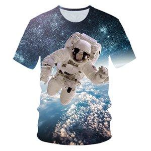 Cloudstyle 2019 3D 티셔츠 Men Space 우주 비행사 Planet Balloon 3D Print 티 Shirt Short Sleeve 캐주얼 패션 탑 Plus Size 6XL