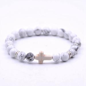 Pulsera de piedra cruzada Retro con cuentas cruzada Encanto de piedra Pulsera elástica Unisex Regalo de la joyería