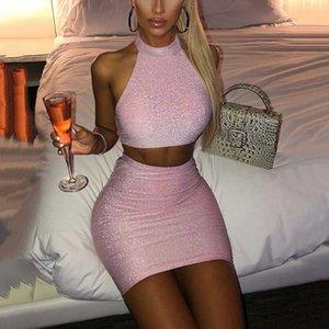 OMSJ 2020 Yeni Moda Seksi Sıcak Yaz Parlak Clubwear İki Adet Set Kadınlar Moda Backless Kolsuz Crop Top + Etek 2 Adet Kıyafetler