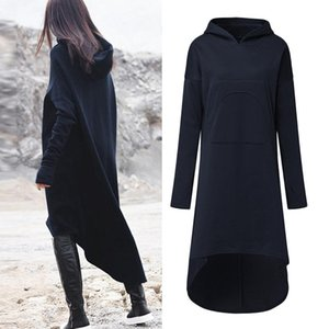 2018 Plus Size ZANZEA Winter Solide Langes Sweatshirt Kleid Frauen Casual Mit Kapuze Langarm Taschen Fleece Lose Pullover Vestido