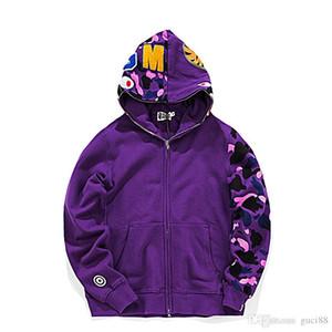 Moda Erkek tasarımcı kazak bir banyo aape köpekbalığı kafa camo maymun tam zip ceketler rüzgarlık hoodies hip hop erkek tasarımcı kış mont