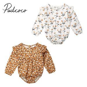 2019 manga Marca 0-24 M bebés recién nacidos pequeños Boho florales largas de la ropa del mameluco de la colmena del mono Bebé dulce del equipo del otoño