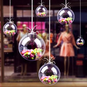 Clear Plastic Fillable Baubles Christmas Ball Ornaments DIY Wedding Party Hold Home Decoration 10PCS