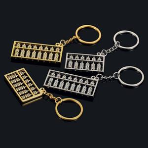 Abacus porte-clés 6 fichiers 8 fichiers Abacus porte-clés en métal argenté or vent chinois Abacus accessoires de mode clé pendentif chaîne anneau
