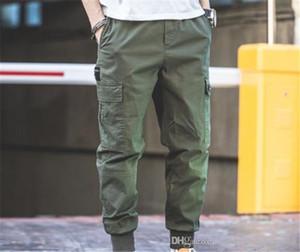 Erkek Casual Kargo Pantolon Tam Capris Çok Pocket Çalışma Pantolon Elastik Bel Pantolon Erkek Moda Giyim