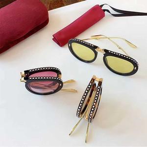 الجديد للطي 0307 مصمم أزياء النظارات الشمسية إطار تجريبي خلات قابلة للطي مع الماس الخريف والشتاء الطلائع النمط الشعبي الأشعة فوق البنفسجية 400