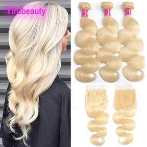 Malezyalı 613 # Sarışın Vücut Dalga Paketler ile Dantel Kapatma 4X4 ile Bebek Saç Uzantıları Paketler ile Closures 8-28inch 613 Renk