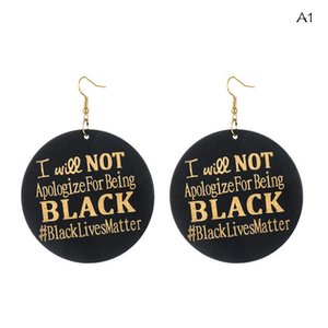 African Wooden Earrings Word Printing African Women Dangle Earrings I Will Not Apologize For Being Black